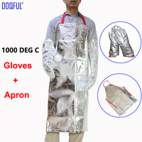 Thermal Radiation 1000 Degree Aluminized Gloves With Work Apron Heat Resistant High Temperature Working Aluminum Foil Glove