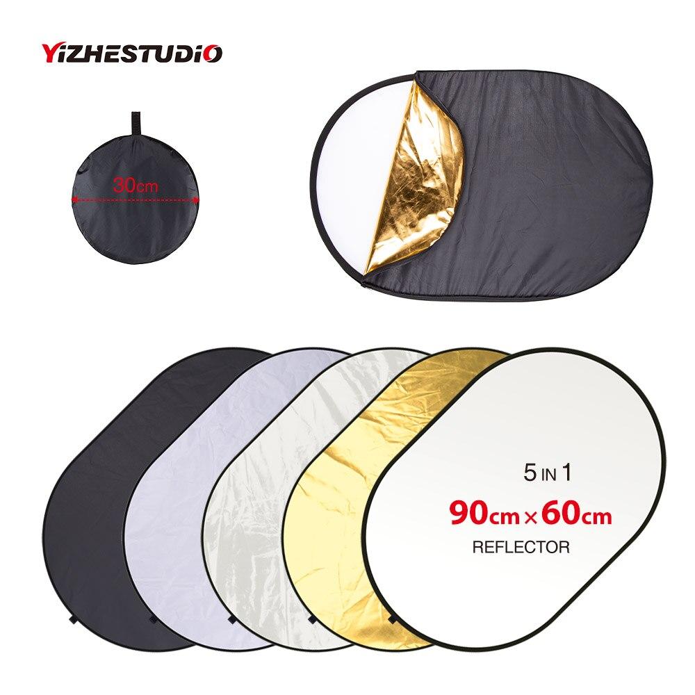 Yizhestudio 5 em 1 Disffuer 24 ''x 35'' Fotografia Refletor Prata Ouro Branco Preto Translúcido refletor de luz portátil