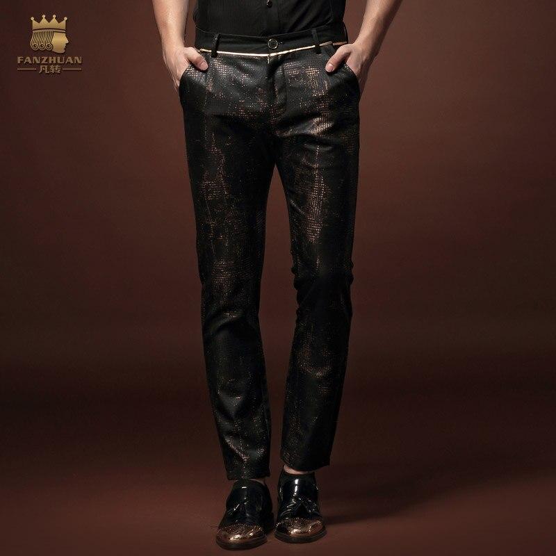 Fanzhuan 새로운 남성 패션 남자 캐주얼 슬림 2015 아홉 번째 슬림 바지 15822 원래 성격 판매-에서스키니 바지부터 남성 의류 의  그룹 1