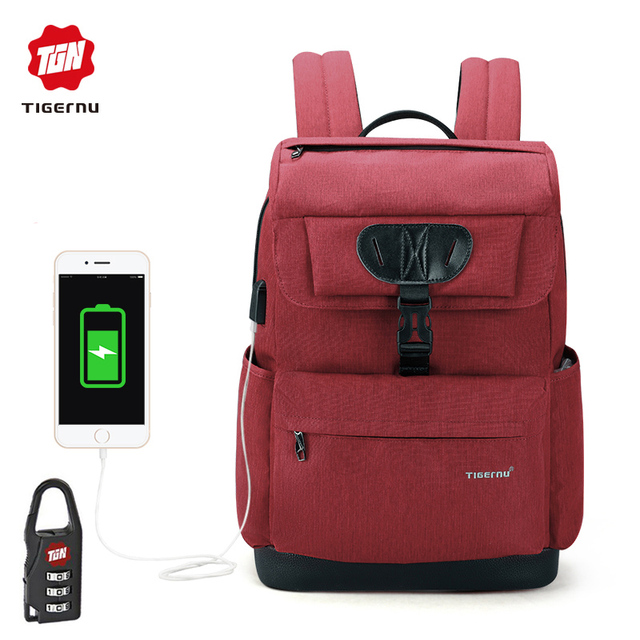 5f8893b509 2018 Tigernu New Arrival Laptop Backpack 15.6 inch USB Charge Backpack  Business Casual School Bag Mochila for Men   Women