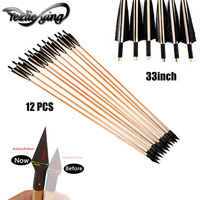 12PCS Wooden Arrows for Bow 33Inches Hunting Archery Turkey Feathers For Recurve Bow Crossbow Hunting Bow For Shooting Arrows