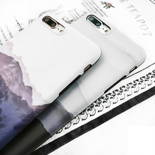 Men's Stylish Plastic Phone Case with Black and White Landscape for iPhone