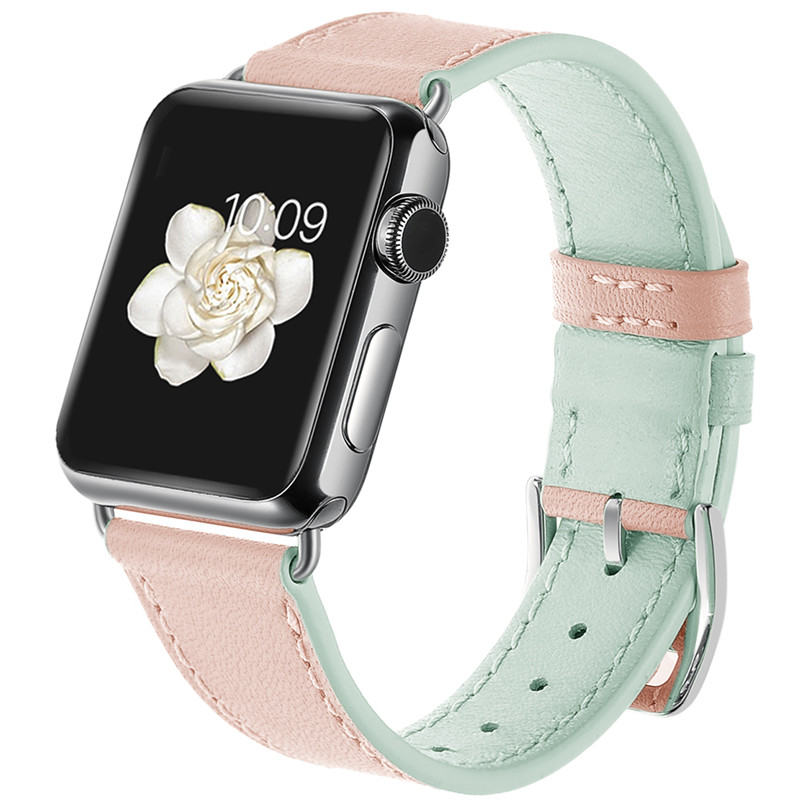 Fashion Women Watch Band For Apple Watch Band Candy Colors Genuine Leather Strap Metal Buckle Replacement Straps For iWatch 38