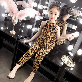 2019 New Children Clothing Sets Summer Girls Sports set Leopard Sleeveless T-shirt+Pants 2Pcs Girls Clothes 4 6 8 10 12 13 Years - DISCOUNT ITEM  9% OFF All Category