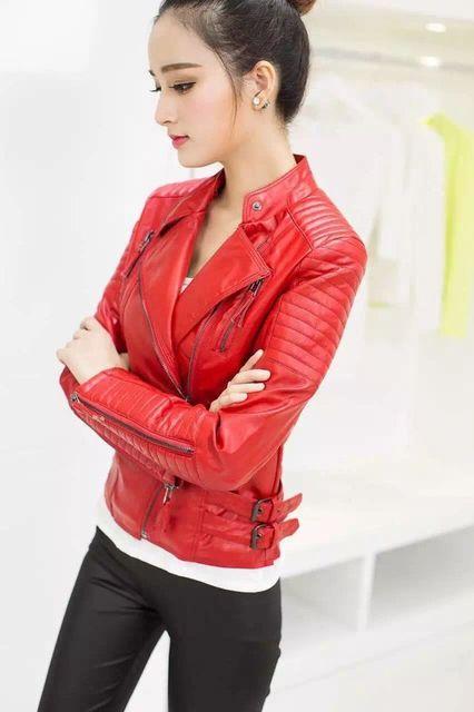 Новый 2017 Весна Женщины Тонкий Дизайн Черный Красный Искусственной Кожи Куртка Короткий Параграф Мотоцикл ПУ Куртка Молнии Пальто Хорошее Качество