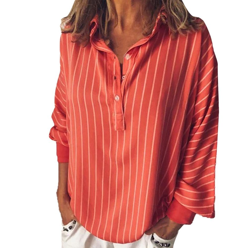 Fashion summer Woman blouses stripe Loose Casual Striped Button Lapel girl Long Sleeve Shirt Top Blouse