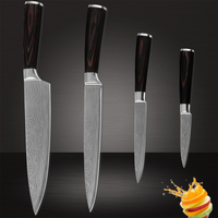 Cooking Tools Paring Utility Slicing Chef Stainless Steel Kitchen Knives Damascus Pattern Color Wood Handle Kitchen