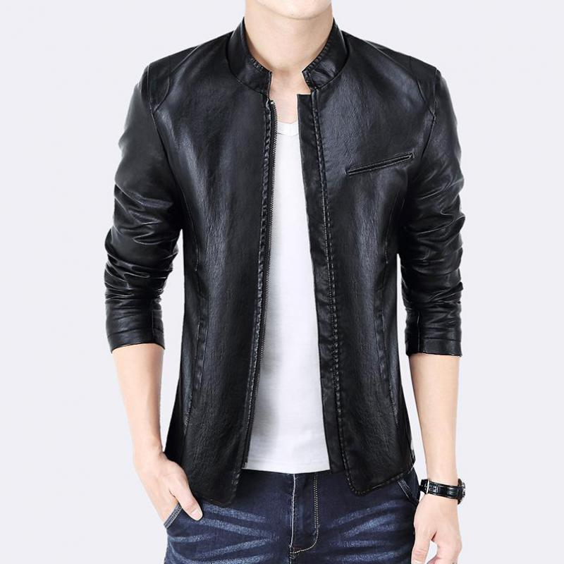 ZEESHANT Brand PU Leather Jacket Men Black Red Solid Mens Faux Fur Coats Trend Slim Fit Youth Motorcycle Suede Jacket Male