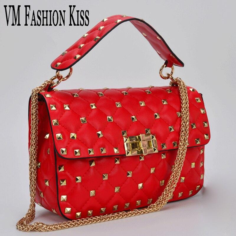 ФОТО VM Fashion Kiss 2017 Fashion Rivet Plain Women Shoulder Bags Leather Lock Handbag Luxury Handbags Women Bags Designer Women Bag