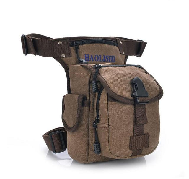 New Men's Canvas Military Travel Motorcycle Riding Fanny Pack Waist Thigh Drop Leg Bag Unisex casual bags