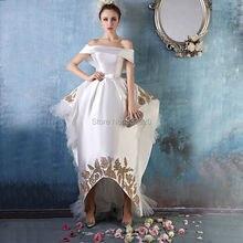 Real Sample Couture Abendkleid High Low Weg Von der Schulter Satin-formales Partei-kleid vestido de festa longo