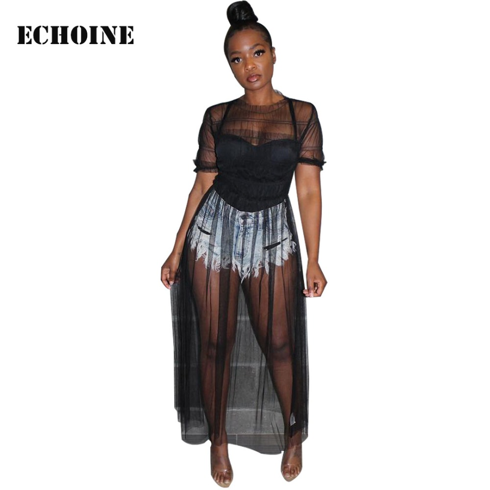 2019 New <font><b>Sexy</b></font> Sheer Mesh Maxi <font><b>Dress</b></font> <font><b>Transparent</b></font> Clubwear <font><b>Club</b></font> Outfit Women Elegant Vestidos Beach <font><b>Dress</b></font> <font><b>Night</b></font> <font><b>Club</b></font> Long <font><b>Dresses</b></font> image