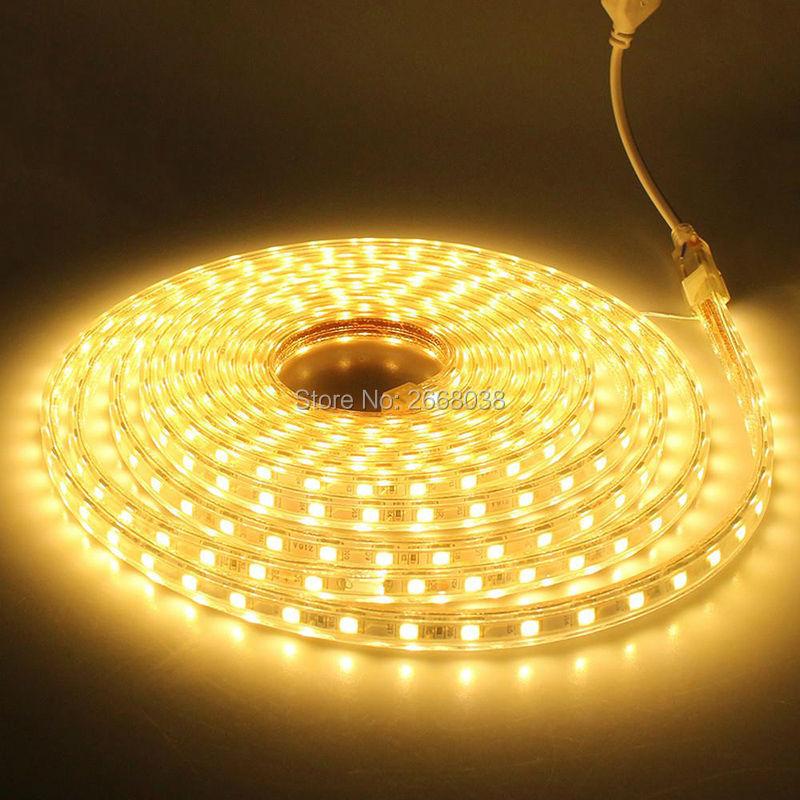 US $9 99 |Brilliant Custom Cut 120 Volt SMD 5050 LED Strip Light bright  waterproof LED lighting for house building exterior lighting-in LED Strips