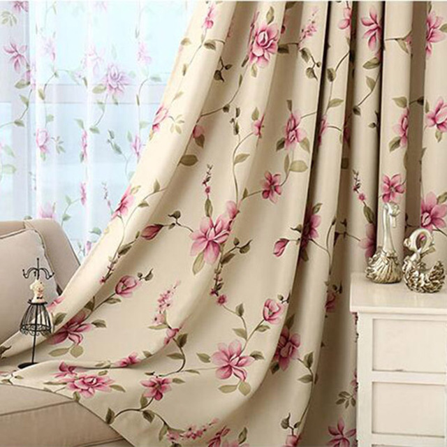 Japanese Modern Simple Style Blue Printed Flower Curtains For Living