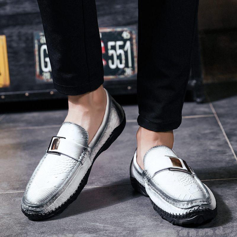 Shoes Black Mocassins Shoes Bureau Blanc En Mâle Marque Noir Cuir Véritable De gray Chaussures Shoes Mens Robe Marche white on brown 2018 Social Cnfiia Brun Shoes Slip Nouveau Formelles H1fwqOBx