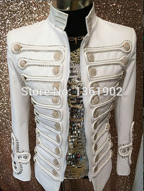 Men Plus size jacket white buttons performance blazer outerwear ds dj singer dancer coat jazz slim stage costume male outfit ...