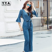 Top Quality Brand jumpsuits jeans European style Women Jumpsuit Denim Overalls Shirt Rompers Girls flares Pants