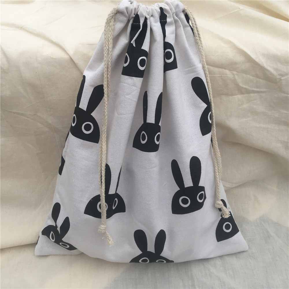 YILE 1pc Cotton Linen Drawstring Organized Pouch Party Gift Bag Print Black Bunny Head YL9527b