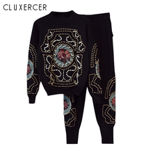 Higth quality beading design 2 Piece Set Women Suits Winter Knitting Long-sleeved Pearls Sweater + Pants tracksuit suit