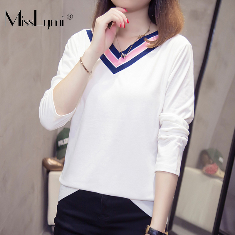 T-Shirts Plus-Size Tops Long-Sleeve Loose Striped Women Autumn Casual Cotton V-Neck