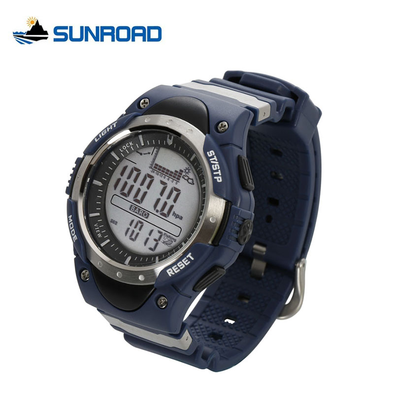 SUNROAD Fishing Watch Weather Forecast Waterproof Place Record Barometer Altimeter Thermometer Backlight Digital Men Watch FR716