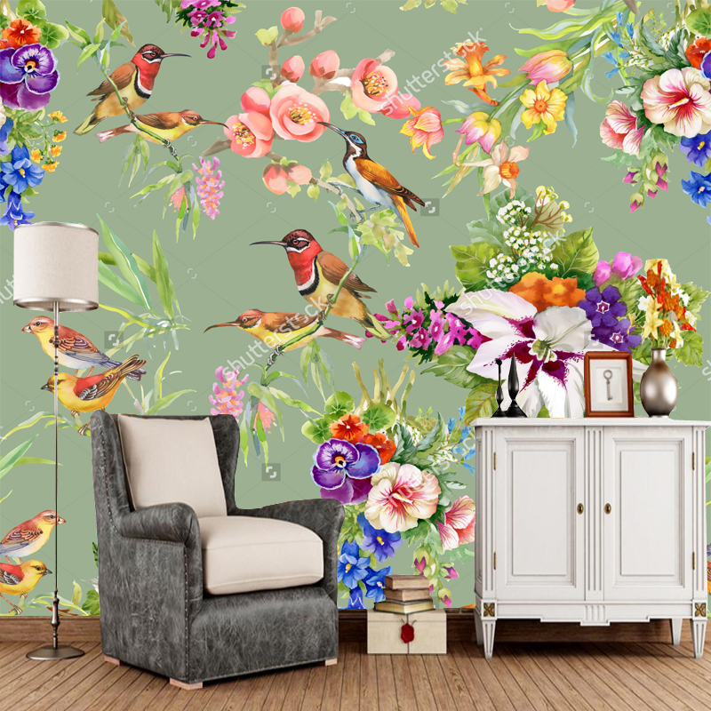 Watercolor wild exotic birds on flowers natural landscape for Bird mural wallpaper
