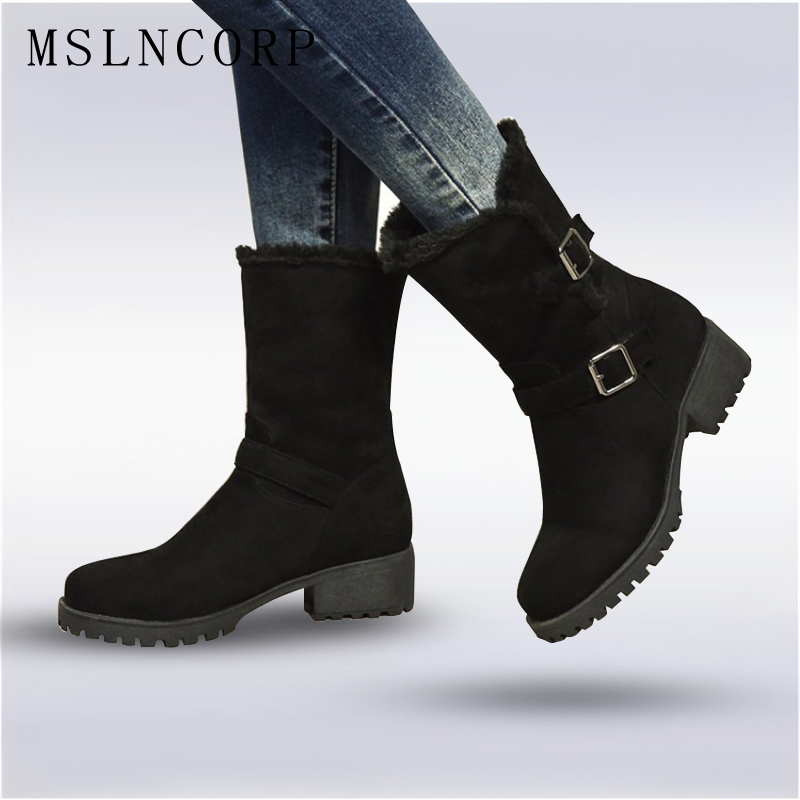 Plus Size 34-44 New women shoes spring autumn woman boots ankle boots women's flats with fashion Mid Calf Winter Warm Snow Boots