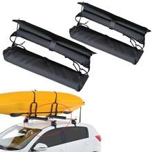 4PC Canoe Dinghy Surf Paddle Board SUP Snowboard Luggage Ladder Kayak Rack Pads Car Roof Cross Bars Cover Wrap недорого