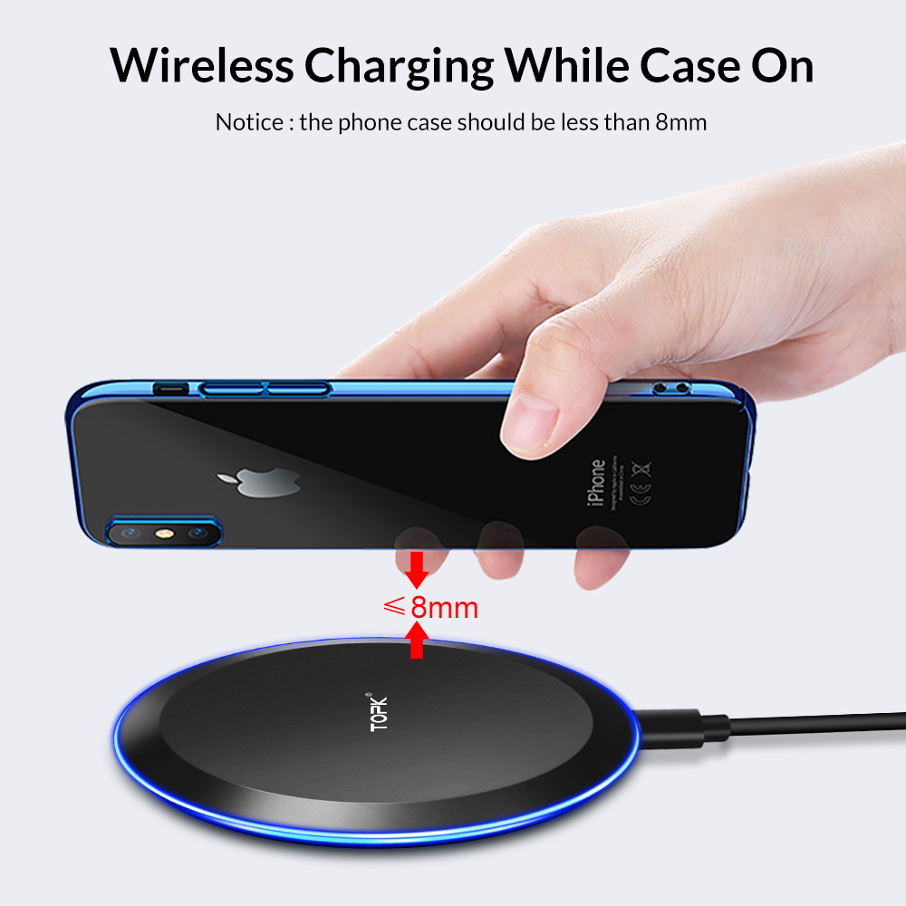 TOPK B46W 10W Fast Wireless Charger For Samsung Galaxy S9/S9+ S8 Note 9 S7 Edge Wireless Charging Pad for iPhone X 8 Plus