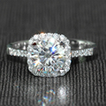 1.5 Carat ct F Color Engagement Wedding Lab Grown Moissanite Diamond Ring With White Sapphire Accents Solid 14K 585 White Gold