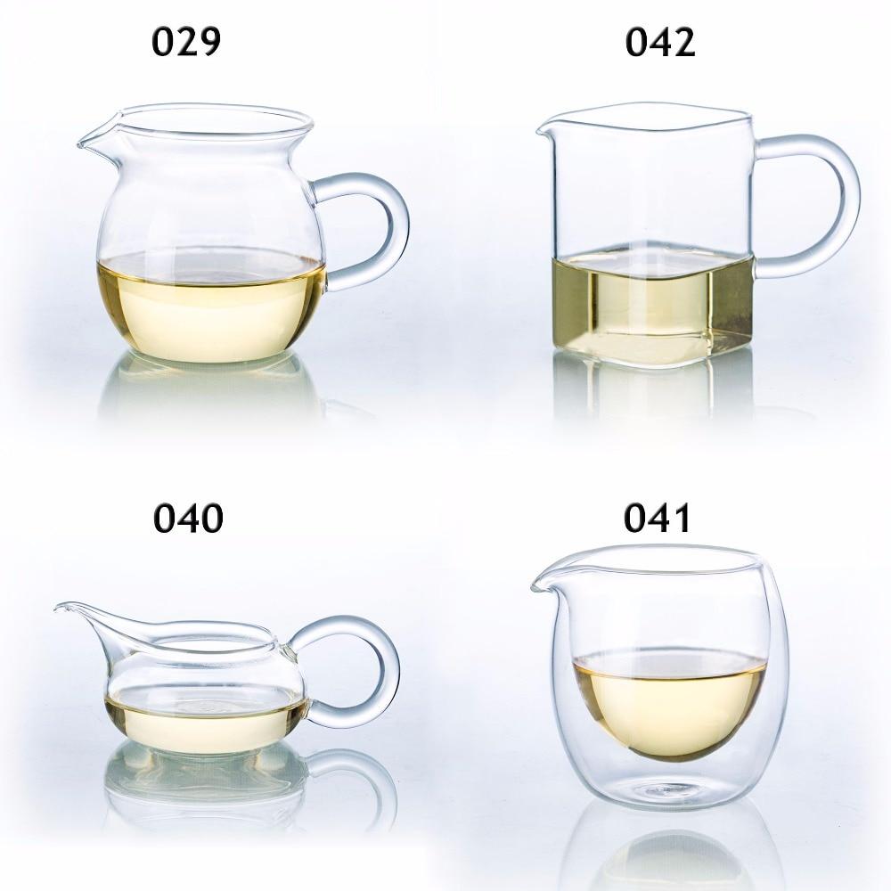أنواع مقاومة للحرارة واضح الزجاج الشاي التي تخدم القاذف الصينية غونغ فو تشا هاي