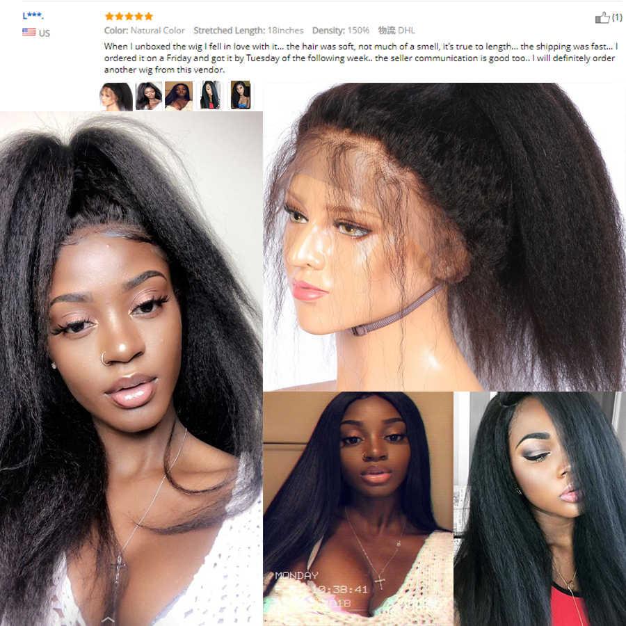 Бразильский кудрявый прямой парик фронта шнурка человеческих волос парики предварительно сорвал для черных женщин Remy парик из натуральных волос Yaki человеческих волос парик