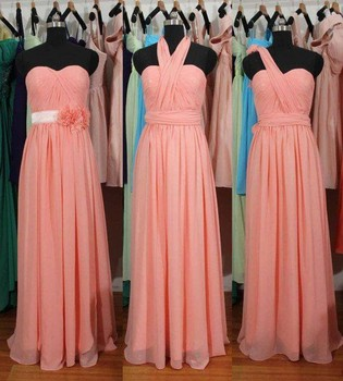 Cute 3 Styles Pink Flower Bridesmaid Gown Navy Blue/Peach/Ivory/Champagne/Silver/Yellow Chiffon Bridesmaid Dresses Fast Shipping