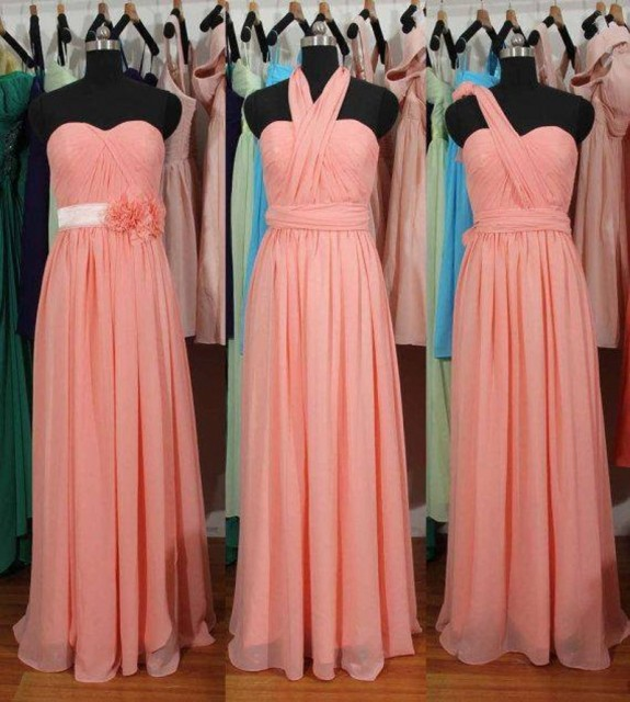 Cute 3 Styles Pink Flower Bridesmaid Gown Navy Blue Peach Ivory Champagne