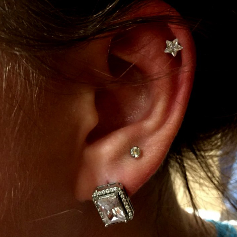 2aecf464c Aliexpress.com : Buy Showlove 3pcs Prong set Zircon Ear Cartilage Piercing  Tragus Helix Studs Piercing Body Jewelry 16g Stianless Steel Earrings from  ...