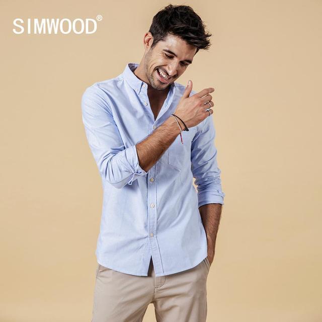 SIMWOOD Brand Men Shirts New 2019 Fashion Long Sleeve 100% Pure Cotton Blouse Slim Fit Plus Size Brushed Oxford Shirt  180569 2