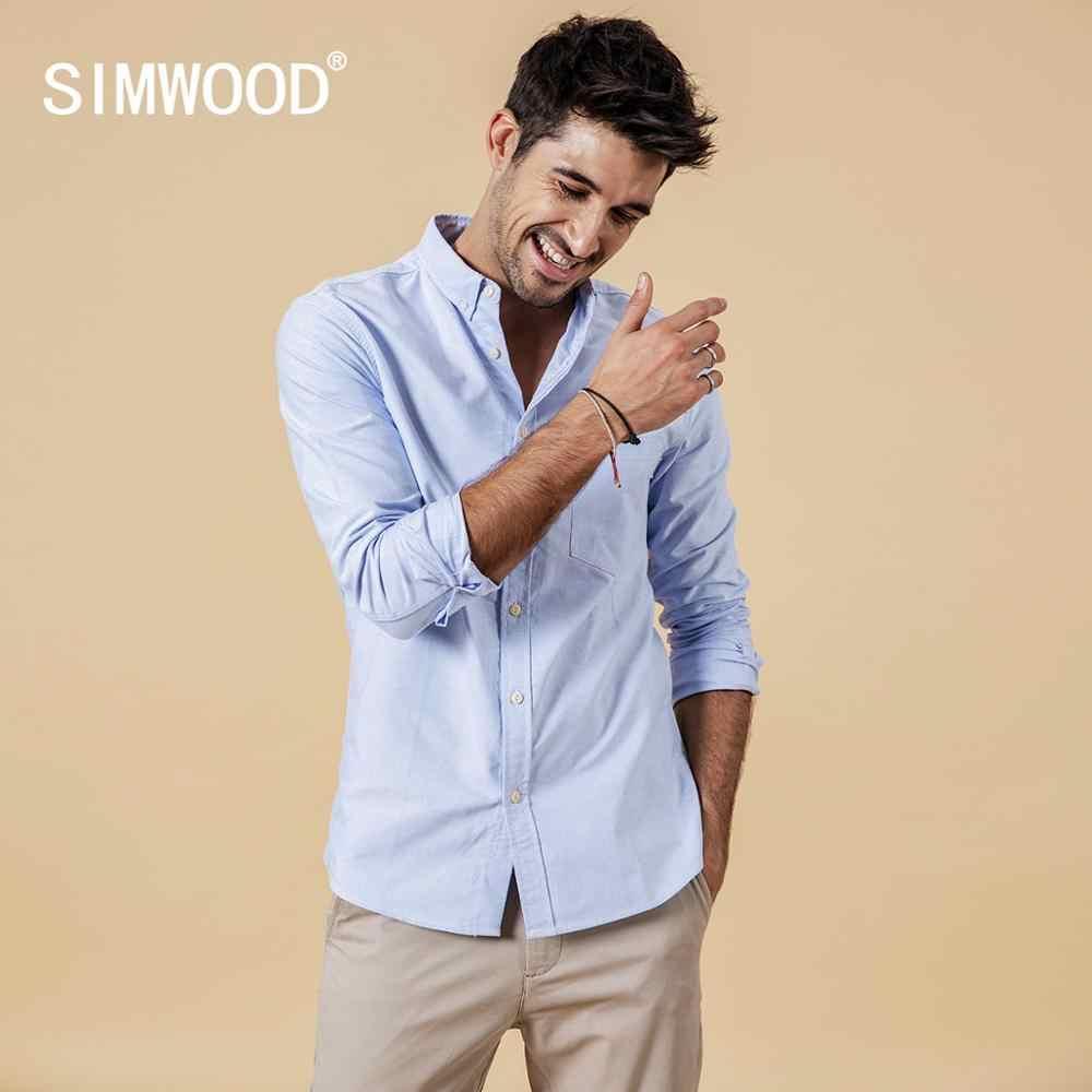 Camisas de marca SIMWOOD para hombre nueva moda 2019 de manga larga 100% blusa de algodón puro Slim Fit talla grande camisa Oxford cepillada 180569