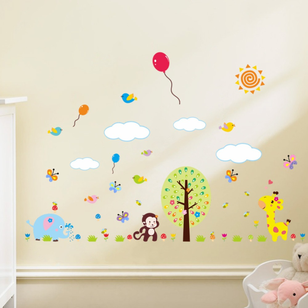 new 9*9cm 9d giraffe monkey / Animals wall stickers For Kids ...