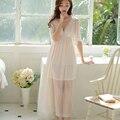 summer women's royal princess nightdress Short-sleeve sexy nightgown  lace long design pattern sleepwear