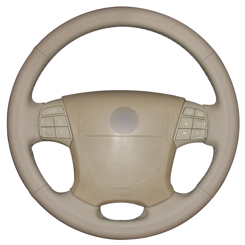 Beige Natural Leather Car Steering Wheel Cover for Volvo S80 2006 2009 XC70 2007 2010 V70