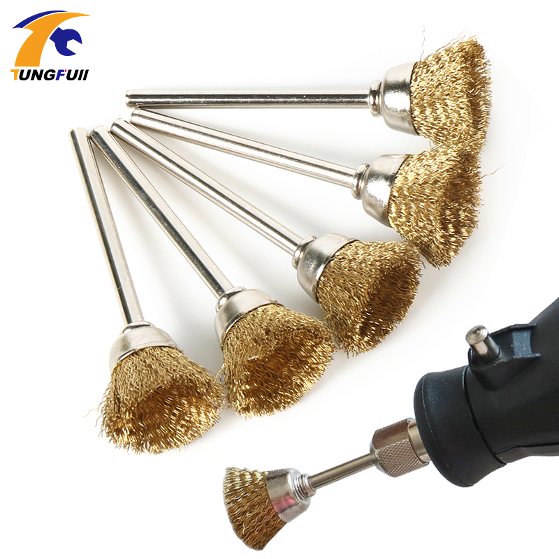 TUNGFULL 5pcs Brass Wire Brushes Dremel Accessories For Dremel Rotary Tools U Shape Diameter 15mm Shank Diameter 3mm
