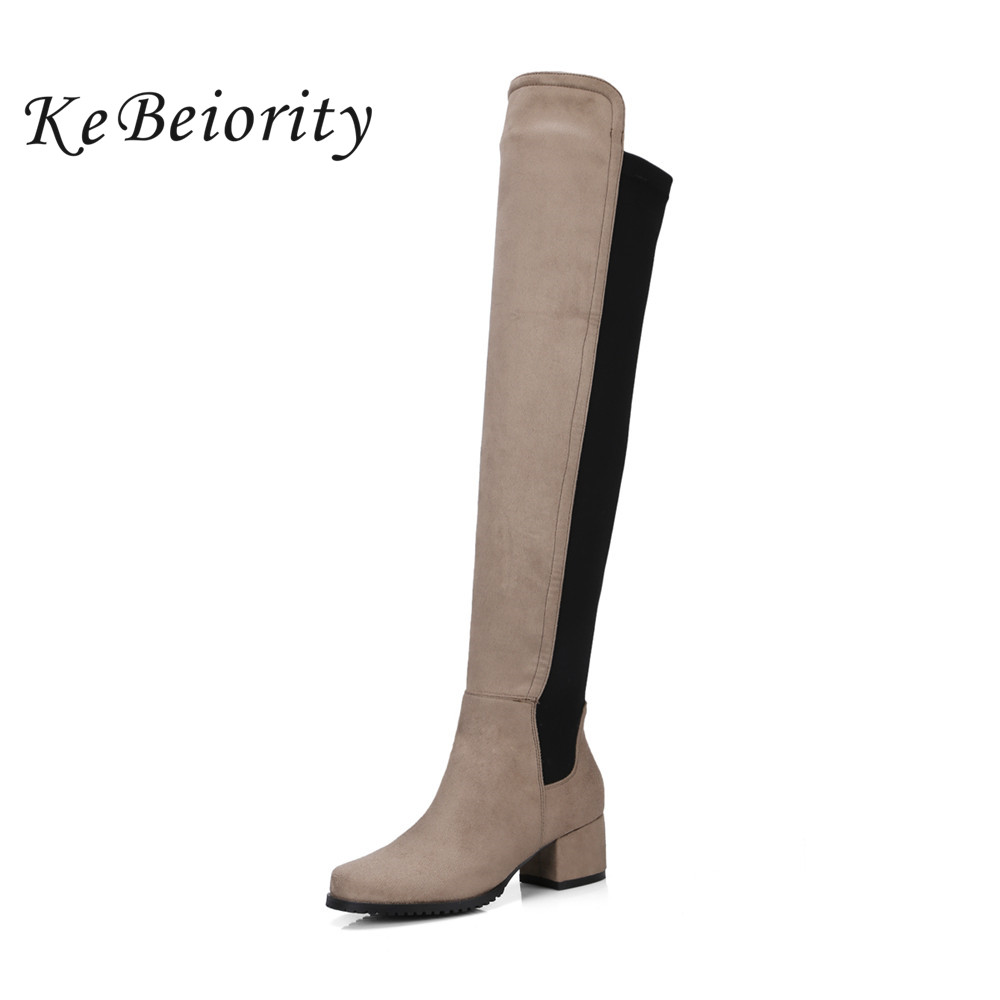 KEBEIORITY 2017 Europe Style Over the Knee Boots Women Autumn Chunky Heel Black Green Thigh High Boots Shoes Thick Heel Boots women over the knee boots black velvet long boots ladies high heel boots sexy winter shoes chunky heel thigh high boots