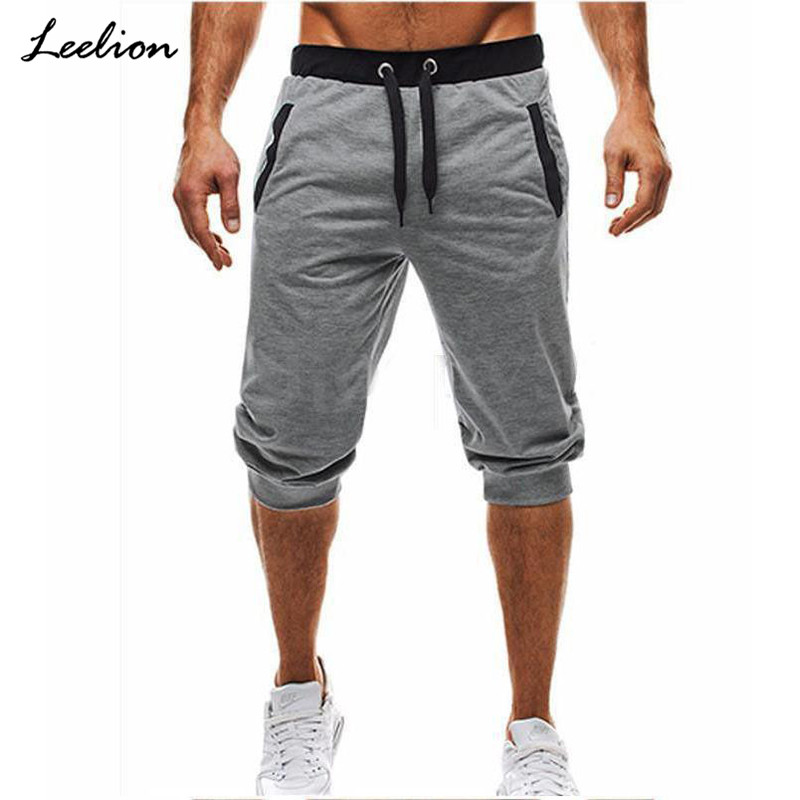 Leelion 2018 Summer New Fashion Casual Short Men Sweatpants Short Homme Clothing For Fitness Pockets Elastic Waist Mens Shorts