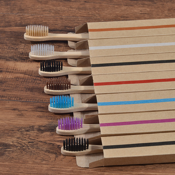20 Piece Eco Friendly bamboo toothbrush wooden Tooth Brush Soft bristle Tip Charcoal for adults oral care LOGO custom toothbrush 1