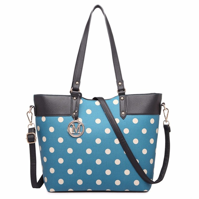Miss Lulu New Fashion Women Designer Polka Dots M Metal Letter PU Leather Handbag Zip Shoulder Tote Bag Cross Body Satchel 1653