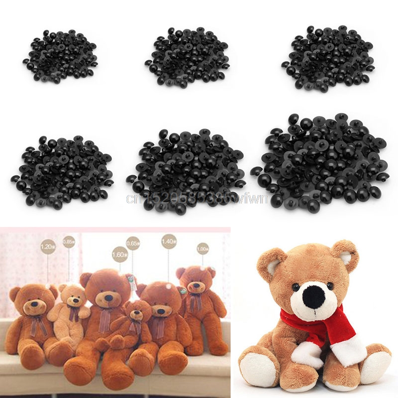 100pcs Buttons Round Mushroom Domed Sewing Shank Black DIY Animal Eyes Toy DIY HC6U Drop shipping