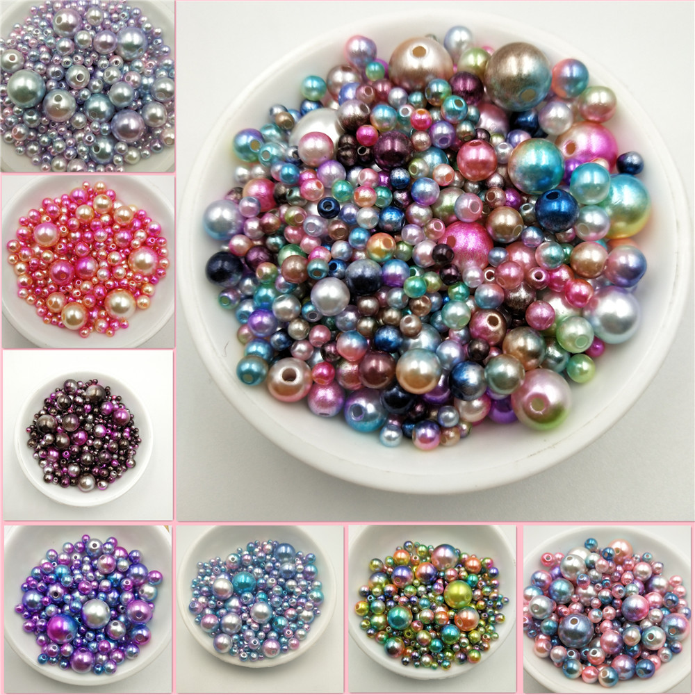 Multi Option Mixed 3/4/5/6/8/10/12mm Round Imitation Rainbow Color Plastic ABS Pearl Beads DIY For Jewelry Making Accessories