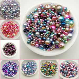 Multi Option Mixed 3/4/5/6/8/10/12mm Round Imitation Rainbow Color Plastic ABS Pearl Beads DIY for Jewelry Making Accessories(China)