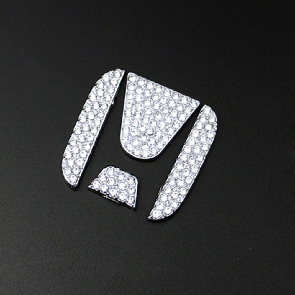 DSYCAR Car Steering Wheel Rhinestone Sticker Logo Emblem Badge Decals Car styling for Honda XRV CRV VEZEL Accord Civic 2012-2018 car styling sticker for jp logo decoration emblem badge gift for haval egoista volkswagen toyota skoda samsung nissan honda ford