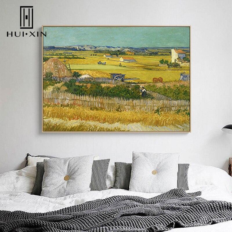 Pintura de lienzo de colores intensos vista de campo otoño dorado reproducción de la pared perfecta de Van Gogh deccoración de pasillo Arte clásico reproducción artista Magritte el beso carteles e impresiones lienzo arte pintura cuadros de pared para la decoración del hogar